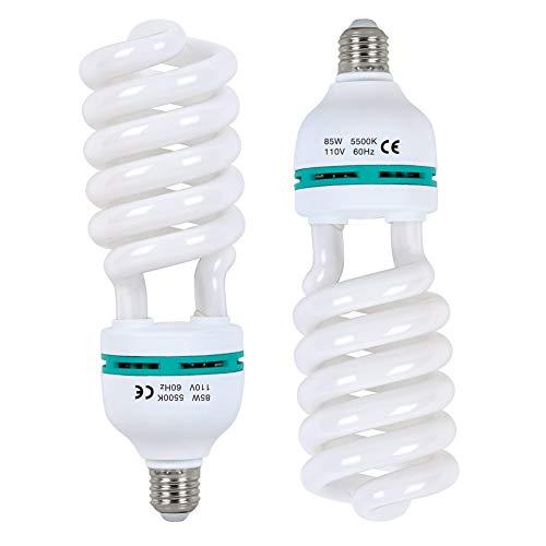 2X85W CFL Fotolampe 5500K Fotoleuchte mit E27 Stecker,FGen Studioleuchte Energiesparende 10000 Stunden Lebensdauer Beleuchtung für Produktfotografie Fotostudio,Fotografie,Softbox