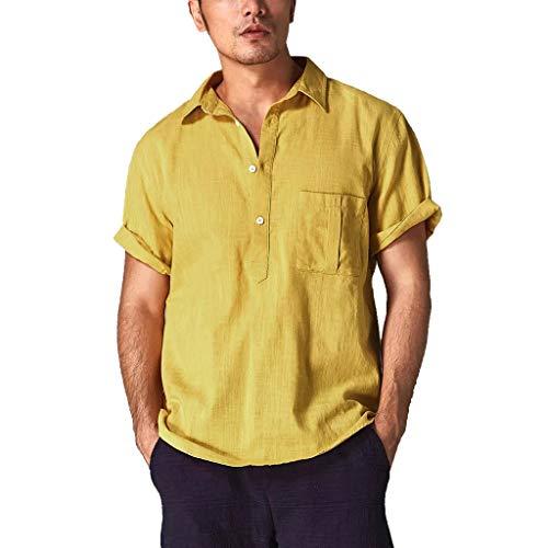 Zarupeng heren retro T-shirts van katoen en linnen eenkleurig korte mouwen revers thee vrijetijdshemd zomer Baggy strand shirt tops