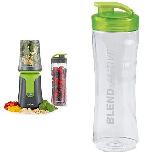 Breville Blend Active Compact Food Processor and Smoothie Maker | 1 x Processor Bowl | 1 x Portable Blending Bottle (600 ml) | 300 W | Green with Blend Active Spare Bottle, 0.6 L - Clear/Green