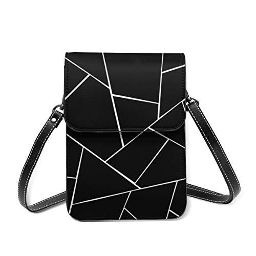 Hdadwy Negro Blanco Geométrico Glam Geo Decor Art Crossbody Bolso de la caja del teléfono celular, Bolso de cuero Ranuras para tarjetas Monedero Bolsillo del teléfono Baggap Clutch