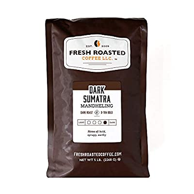 Fresh Roasted Coffee LLC, Dark Sumatra Mandheling Coffee, Dark Roast, Whole Bean, 5 Pound Bag