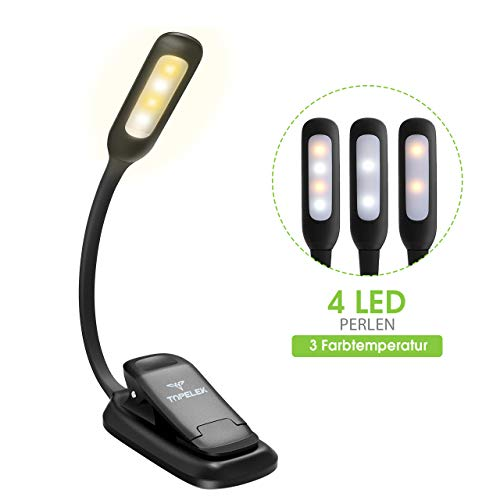 Leselampe Buch, TOPELEK LED Buchlampe Klemme mit 4 LEDs, 3 Farbtemperatur, LED Klemmleuchte, 360° Flexibel, USB Wiederaufladbar für Nacht Lesen, Kindle, Schlafzimmer, Büro.[Energieklasse A+++]