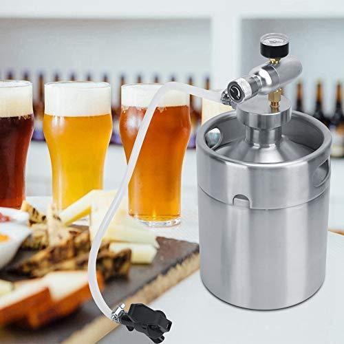 【Cadeau d'Avril】Mantiene el barril de cerveza fresco y carbonatado, con manómetro Mini barril doméstico Growler, cerveza artesanal y de barril para el hogar y el bar Fermentación, alm