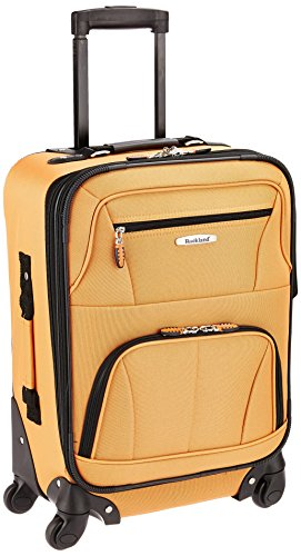 Rockland Pasadena Softside Spinner Wheel Luggage, Orange, Carry-On 20-Inch