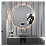 Espejo Redondo de Baño con luz led, Espejo de Pared con interruptor táctil Espejo de luz con Iluminación, antivaho Reloj Digital Bluetooth, Atenuación Infinita (Size : 700x700mm)