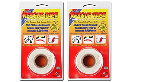 Rescue Tape Self-fusing Silicone Tape (Clamshell White, 1-Inch by 12-Feet), 2 Pack
