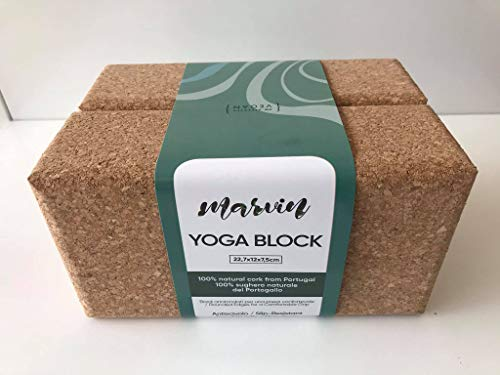 Marvin - Bloques de yoga (2 ladrillos) de corcho natural 100% de Portugal - Yoga Block antideslizante Slip-Resistant (2) (2)