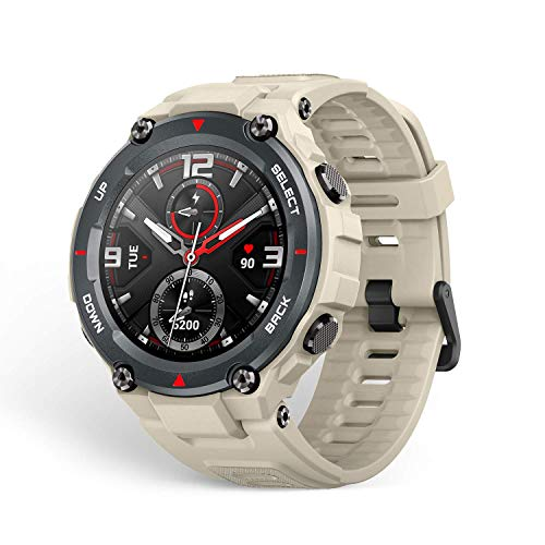 Amazfit T-Rex Smartwatch mit 12 Militär-Zertifizierungen, 20 Tage Batterielaufzeit, Robustes Gehäuse, 1,3 Zoll AMOLED-Display, 5 ATM wasserdicht, 14 Sport-Modi, Khaki