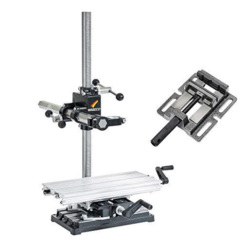 WABECO Bohrständer Fräsständer BF1243 mit Koordinatentisch K400 und Maschinenschraubstock vertikal/horizontal Säule 750 Ausleger 500 mm
