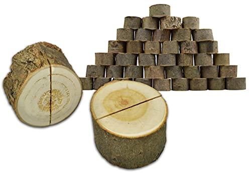 Rustical World Tisch-Kartenhalter aus Holz mit Baumrinde, 40 Stück H 2 x Ø 3-4 cm | Optimal als Namenkartenhalter für Hochzeit, Fotohalter, Menühalter, Visitenkartenhalter oder Platzkartenhalter