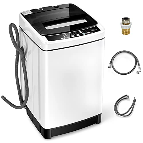 Giantex Full Automatic Washing Machine, 2 in 1 Portable Laundry Washer 1.5Cu.Ft 11lbs Capacity Washer and Dryer Combo 8 Programs 10 Water Levels Energy Saving Top Load Washer for Apartment Dorm