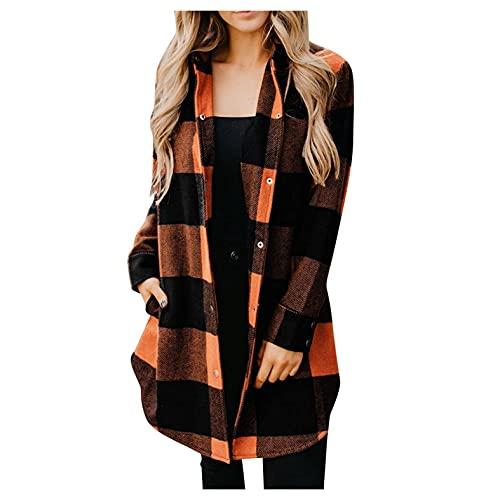 Hemlock Women Plaid Shirts Jacket Long Sleeve Button Down Blouses Tops Mid Long Shirt Coat Outwears Orange