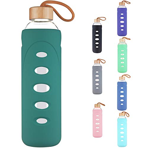 DEARRAY Sport Borosilicate Glass Water Bottle with Protective Silicone Sleeve and Unique Bamboo Lid 14oz Seaside Green
