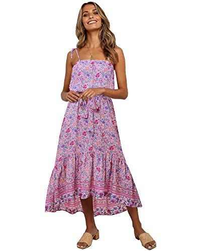 SOLERSUN Maternity Dress Floral, Women's Summer Smocked Boho Spaghetti Strap Tube Top Dress Casual Flowy Beach Swing Party Maternity Midi Sundress with Belt Pink XL
