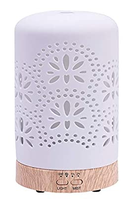 Diffusers for Essential Oil Ceramic Aromatherapy Diffuser with 4 Timer&7 Color Changing Light, Cool Mist Humidifier for Home Office Bedroom, BPA-Free?Floral?