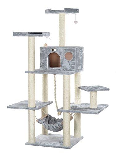 Armarkat Großer Kratzbaum AC7202 großem Katzenhaus und Hängematte (Silber)
