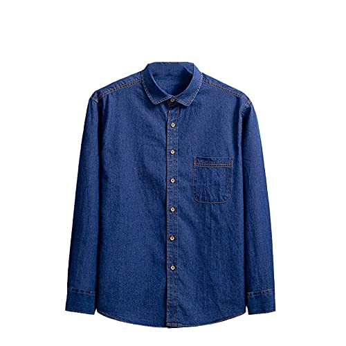JJBKT Camisa de mezclilla azul de los hombres de algodón casual de manga larga retro camisa de los hombres moda