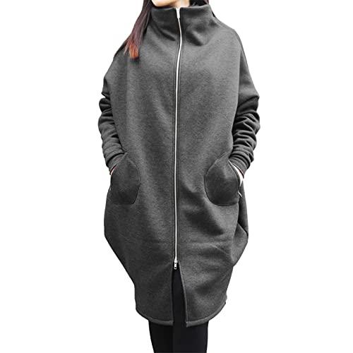 Sudadera con capucha de gran tamaño con cremallera para mujer color sólido suelta larga acolchada sudadera abrigo, #2 Gris, 4XL