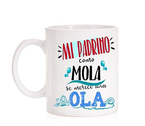 Taza Mi Padrino como Mola se Merece una Ola. Taza Muy Divertida para Regalo de Padrinos.