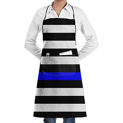 Wthesunshin Dunne Blauwe Lijn Blauw Leeft Matter Flag.png Chef Schort met Schort Keuken Schort Verstelbare Extra Lange Ties voor BBQ Bakken en Koken-Zwart