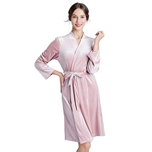 JOYKK Womens winterwarm velvet Kimono badjas Plain Solid Color Nachtkleding Dessous
