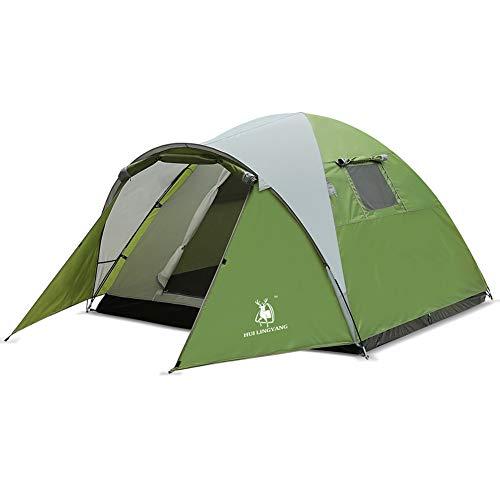 DYMMS Tente Imperméable Double Couche Sports De Plein Air Extérieure De Plage Randonnée 3-4 Personnes 100% Anti UV Ventilée Et Durable Tente