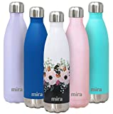 MIRA 25 Oz Stainless Steel Vacuum Insulated Water Bottle - Double Walled Cola Shape Thermos - 24 Hours Cold, 12 Hours Hot - Reusable Metal Water Bottle - Leak-Proof Sports Flask - Peonies