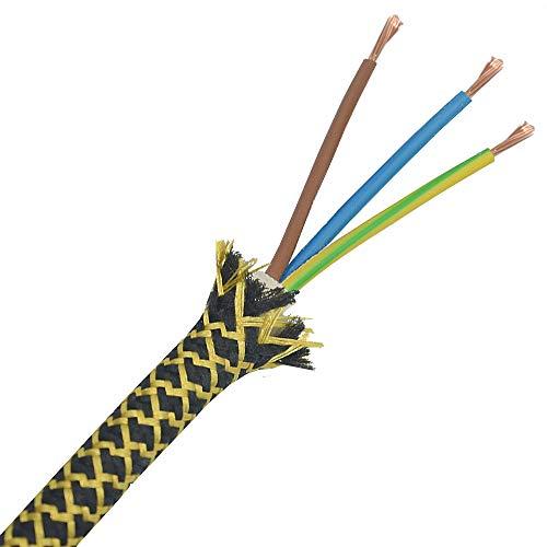3m Stoffkabel Schwarz Gold Barock Raster 3G 0,75qmm Textilkabel Lampenkabel Leuchtenkabel Kabel Stromkabel umsponnen