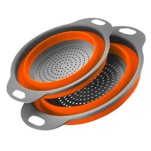 Atashojoe Collapsible Colander Set of 2 - Home Kitchen Silicone Food Grade Strainers with Plastic Handle - Heat Resistant Space Saver Dishwasher Safe Drainer for Pasta, Vegetables, Fruits (Orange)