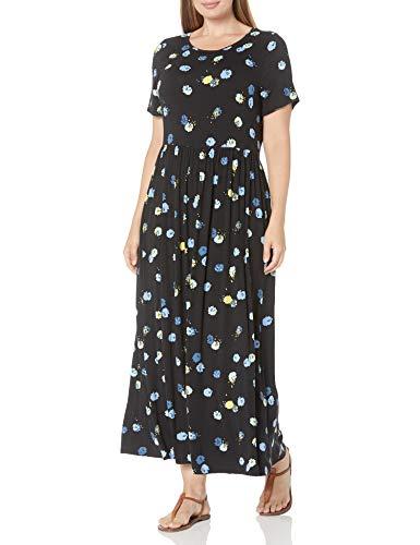 Amazon Essentials Women's Plus Size Short-Sleeve Waisted Maxi Dress, Black Graphic Bud, 1X