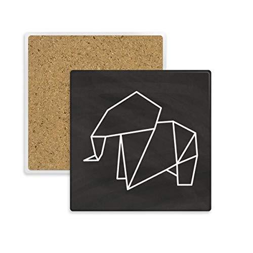 DIYthinker Abstrakt Origami Elefant Geometrische Form Quadrat Coaster-Schalen-Becher-Halter Absorbent Stein für Getränke 2ST Geschenk Mehrfarbig