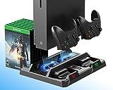 PeakLead Xbox One Soporte Vertical y Ventilador de Refrigeración, Estación de Carga, Cargador de Batería Mando Controller Charger, 15x Juegos Almacenamiento para Xbox One, One S, One X, Elite