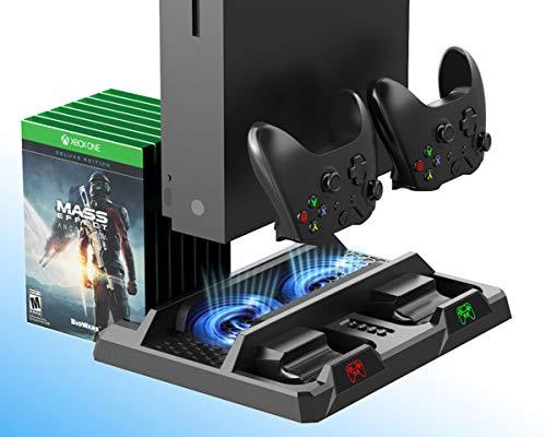 Xbox One Vertikaler Ständer, Controller ladestation mit Lüfter Kühler, Blu-Ray Game spiele DVD-Hüllen Stand, Charger Ladegerät Docking Station für Xbox One, One S, One X, Elite