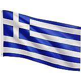 FLAGMASTER Bandiera Flag 120x80 cm, 24 Bandiere Diverse tra Cui Scegliere, Occhielli Metallici per Il Fissaggio, Bandiera Grecia