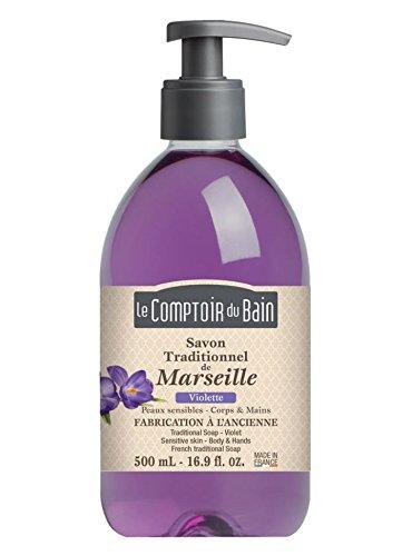 Le Comptoir du Bain Savon de Marseille Liquide Violette 500 ml lot de 3