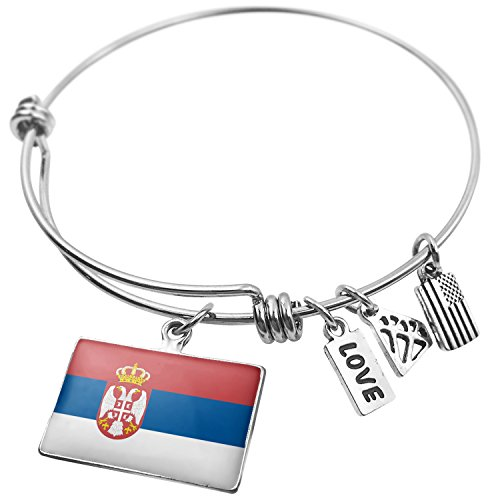 NEONBLOND Expandable Wire Bangle Bracelet Serbian Flag