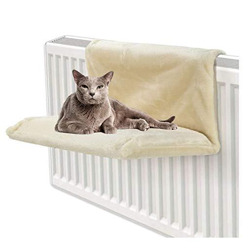 CawBing Cama de radiador colgante para gatos, gatitos, mascotas y animales, cálida cesta de forro polar, hamaca, marco de metal duradero, cama fuerte y duradera para mascotas, color beige