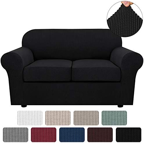 Best 3 Piece Stretch Sofa Covers for 2 Cushion Couch Loveseat Covers for Living Furniture Slipcovers (Bas