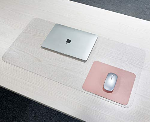 Klare Schreibtischunterlage, rutschfeste Schreibmatte mit runder Kante, 80 x 40 cm wasserdichtes PVC Klare Schreibtischunterlage mit 25 x 20 cm wasserdichtem PU-Leder-Mauspad für Büro/Zuhause