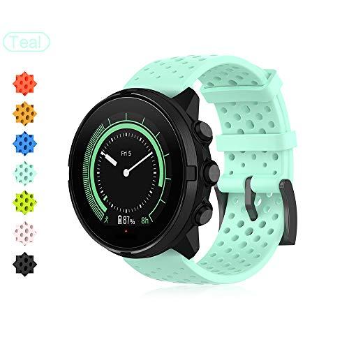 Buwico Armband für Suunto 9, Ersatz Silikon Uhrenarmbänder Fitness Uhrband Sport Wechselarmbänder für Suunto Spartan Sport Wrist HR Baro/Suunto 9 /Suunto Traverse (Blaugrün, L)