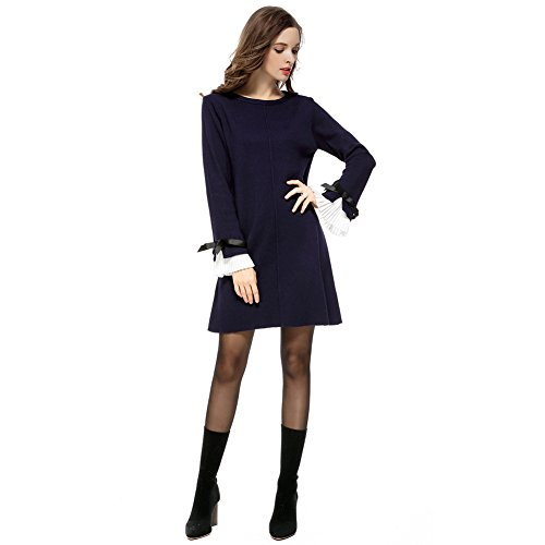 Paskyee Dames Knitwear Jumper Crewneck Bow Flare Sleeve Effen Kleur Elegante Trui Jurk Maat S-5XL(UK8-22)