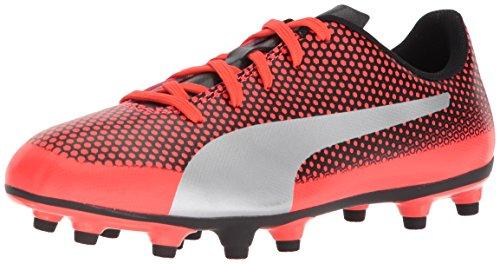 PUMA Unisex-Kids Spirit FG Soccer-Shoes, Red Blast-Puma Silver-Puma Black, 11 M US Little Kid