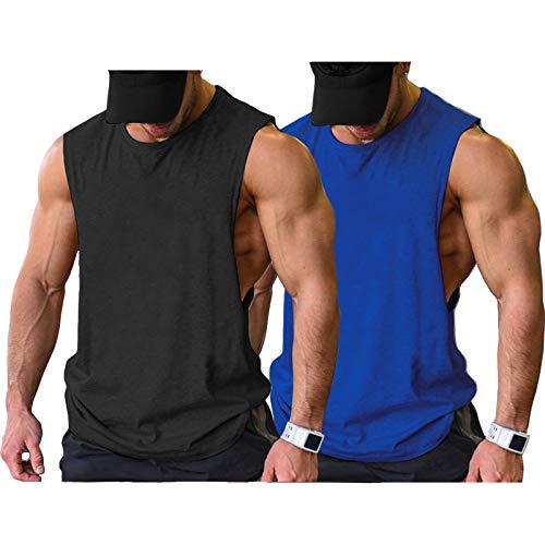 COOFANDY Men Bodybuilding Tanktops 2 Pack Workout Sports Cut Off Tank Top Shirts