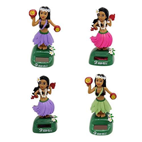 Baoblaze 4 Stücke Solarbetriebene Tanzen Hawaii Mädchen Schaukel Figuren Witz Spielzeug Schreibtisch Auto Dekor