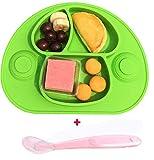 Bebé Niños Mantel Individual Plato de Silicona Con Fuerte Ventosa FDA y Sin BPA-Microonda,con un juego de vajilla(verde)