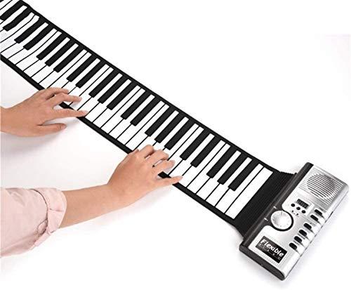 Roll Up Piano 61 Schlüssel rollen oben Klavier Tragbare aufladbare elektronische USB-MIDI-Out Hand Roll Piano mit 128 Tones 40 Demo-Songs Silikon-Klavier-Tastatur Eingebauter Lautsprecher for Anfänger