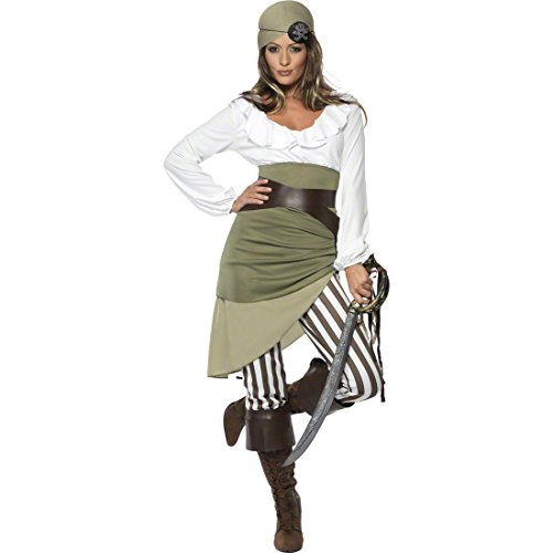 NET TOYS Piratenkostüm Damen S 36/38 Piratin Kostüm Piratenbraut Seeräuberin Piratinnenkostüm
