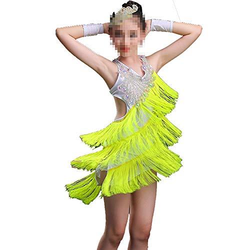 Peng sounded Kleinkind Kinder Mädchen Latin Ballettkleid Asymmetrische Ballroom Dance Kostüme Latin-Tanzkleid für Mädchen (Farbe : Grün, Größe : 160cm)