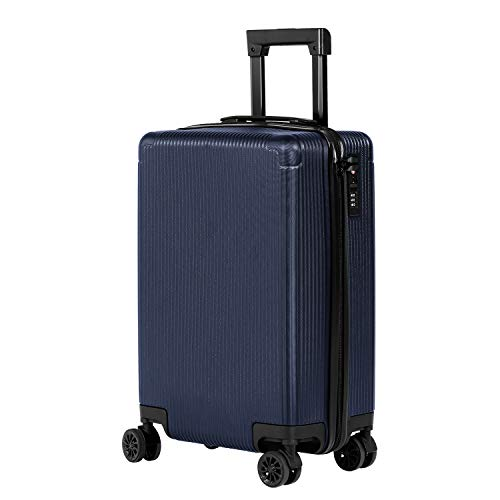 Murtisol 20 inches (56cm) Carry on ABS Luggage TSA Lock Lightweight Durable Hard Shell 4 Spinner Wheels Suitcase, Navy Blue