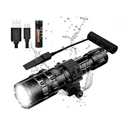 Umisu - Linterna de bolsillo LED potente 1600 lúmenes, impermeable, USB, recargable, 5 modos de intensidad para camping, senderismo, ciclismo, batería incluida